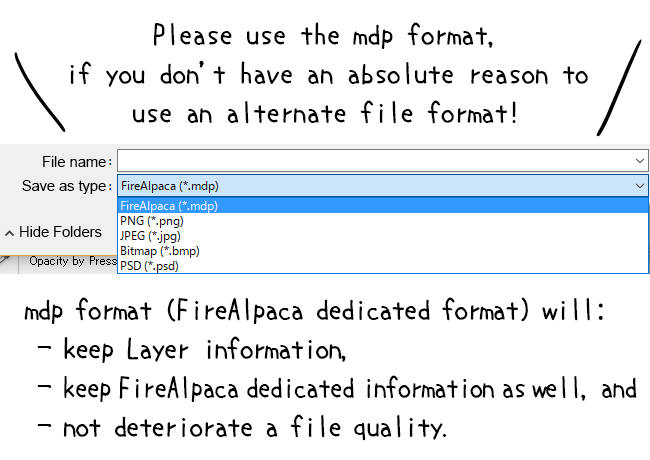 Save as a dedicated format (*.MDP)