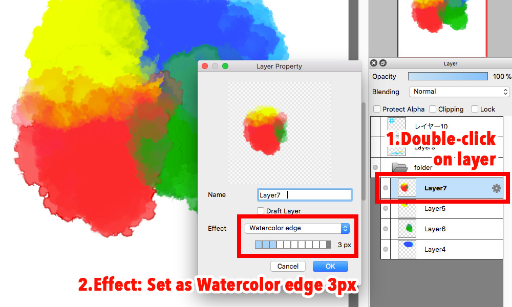 Diagram:Double -click on layer to set Watercolor edge