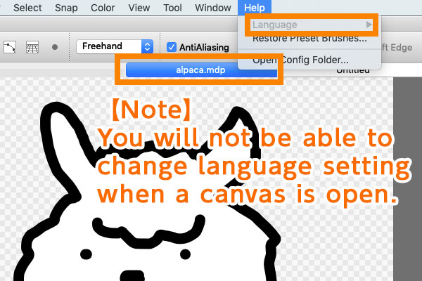 Check if a canvas is closed prior to changing language